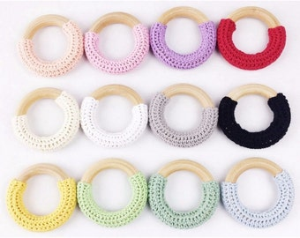 Crochet Wooden Teething Rings (10 or 20 Pcs)