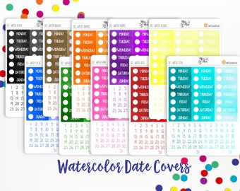 Planner Stickers- Weekly Watercolor Date Covers