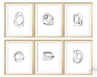 Set of 6 prints, Print set, Abstract Art, Prints ,Art ,Art printable,BlACK AND WHITE PRINT , Minimalist  print ,Set printable , Set prints