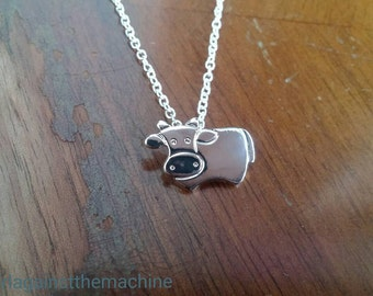 Silver Plated Dainty Small Cute Cow Pendant/Necklace~Vegan Animal Rights Awareness Activism~Minimalist Jewellery Gift
