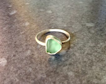 Bright Teal Sea Glass Ring