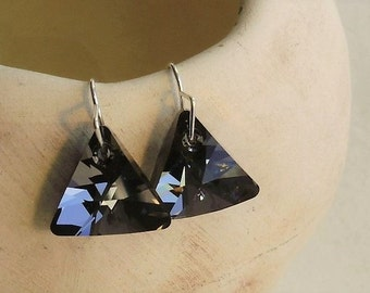 Swarovski Xilion Triangle Blue Crystal Rhinestone Dangle Drop Earrings
