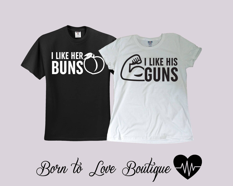 Buns guns couple gym shirts bride groom