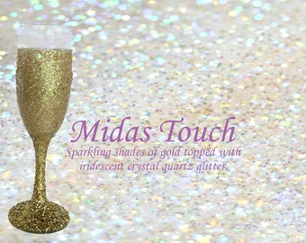 Midas Touch Gold Glitter Champagne Glass