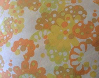 Vintage handmade 1970s bed sheet, double flat sheet hand-sewn, centre seam, classic orange floral design