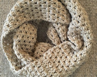 Crochet Infinity Scarf - Round Scarf - Neck Warmer - Light Taupe Scarf