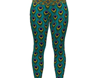 Legging TRIKONASANA in fabric breathable Peacock print