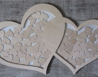 Romantic heart natural wood as a guestbook - wedding tree