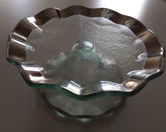 Annieglass Petit Four Platinum Ruffle Edge (cake stand)