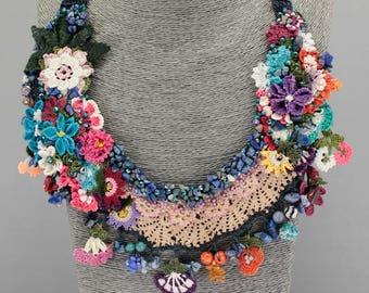 Crochet Necklace , Bib Necklace, Crochet Lace Necklace