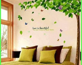 Green Tree Wall Decals - Nursery Wall Decal - Large Kids Room Wall Decor Sticker. wall sticker