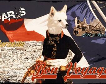 Dog as Napoleon, France, Bon Voyage, good Journey, wooden sign, wooden postcard, pointed dog
