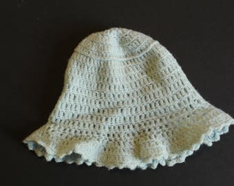 Shabby chic crochet infant hat in baby blue