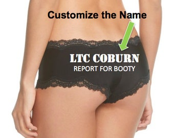 CUSTOM Military Rank and Name Report For Booty Panties, Military Wife, Bridal Shower Gift, Bachelorette Party, Bride Lingerie, Veteran Wife