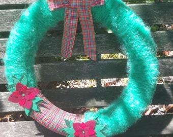 Yarn Wrapped Floral Tartan Wreath