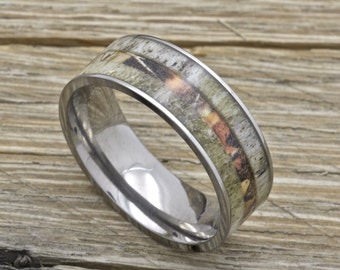 titanium deer antler ring with camouflage inlay 8mm comfort fit wedding band - Wedding Rings Camo