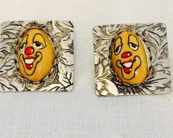 Unique Vintage Clownface Earrings