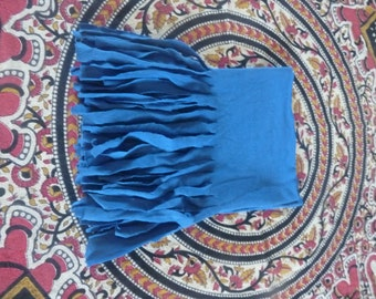Blue tassel scarf. Handmade, recycled, upcycled.