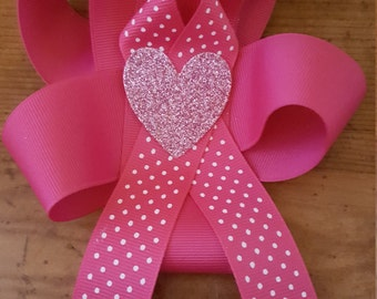 Pink heart valentines day boutique bow