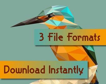 """Printable Low Poly Kingfisher (11""""x17"""")"""