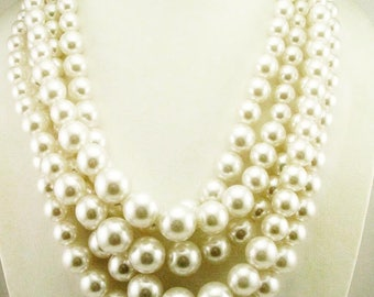 "Kenneth Jay Lane Faux Pearl Multi Strand Necklace Shortest Strand is 18""  alabaster"