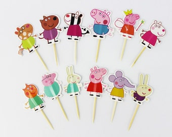 24 pieces peppa pig cake cupcake toppers