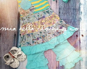 Aqua and yellow boutique outfit