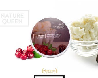 100% Pure Natural Organic SHEA Body Butter with CRANBERRY Unrefined