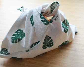 Block Printed Bento Bag- Monstera Leaf Design, reusable bag, knitting bag, storage bag, lunch bag
