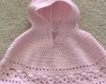 Pastel pink hooded poncho