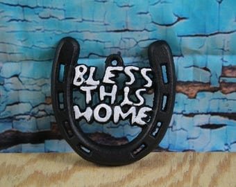"Cast Iron Bless This Home Horseshoe 4""W x 4"" H"