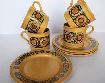 VINTAGE/RETRO Kiln Craft Bacchus Set of 4 mugs & 4 side plates, 1970s