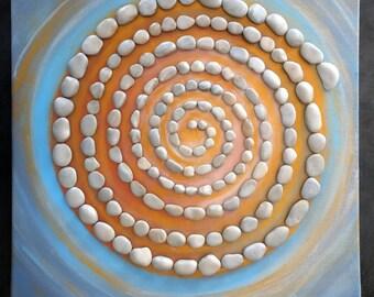 Tableau acrylique avec des pierres - Stones labirynth II - warm blue