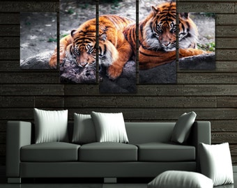 Tigers 5 Piece Framed Wall Canvas
