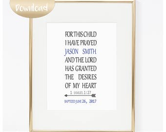 For This Child I have Prayed Bible Verse Sign 1 Samuel 1:27 Christian Nursery Decor Religious Gifts Baby Digital Download INSTANT DOWNLOAD
