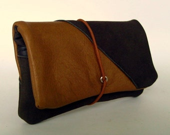 Leather tobacco pouch Brown & beige in old leather