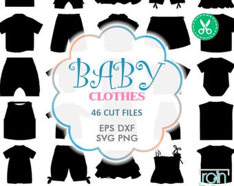 Wear Clipart, Clothes Svg, Clothing Clipart, Clothes Clipart, Baby Clothes Girl, Kids Clothes, Dress Svg, Silhouette Cameo, Dxf Files, Png