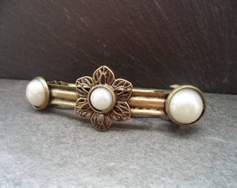 ornate Barrette, vintage style, hair jewelry, wedding, Festival, communion, Cabochon, bronze, 5