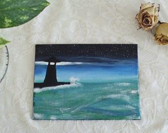 Artwork on Canvas Board // Lighthouse, Night Sky, and Ocean // Acrylic Painting
