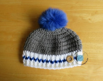 Tuque wool bottom boy. With Pompom. Baby. Handmade. Custom command.