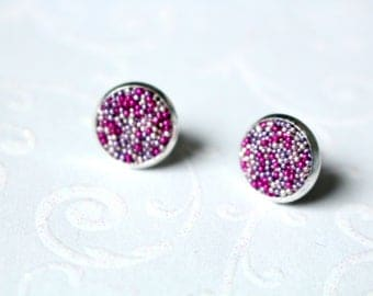 Cabochon earrings antiqued silver 10 mm pink Pink Purple