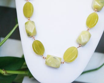 Green Jade Chunky Copper Link Necklace/Earring Set
