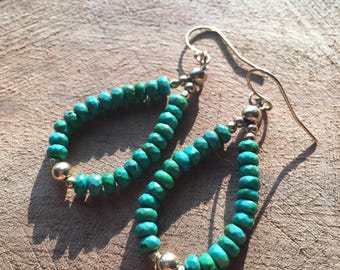 Turquoise and Gold fill Earrings