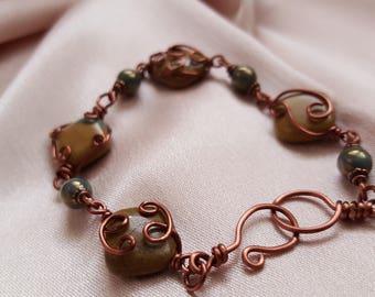 Wire Wrapped Green Line Jasper Bracelet - Vintage Inspired