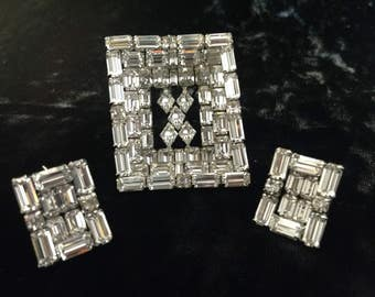 Vintage Sherman 3 Dimensional Clear Rhinestone Brooch and Earrings