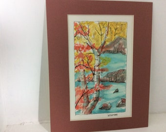 original watercolor painting, Fall birch, watercolor matted 8 x 10 inches Free shipping in USA