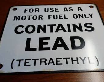 Contains Lead Gas Pump Plate sign