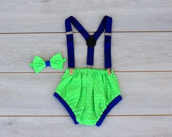 Green & Blue Cake Smash Outfit