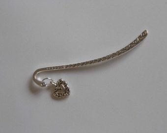 Tibetan silver heart bookmark