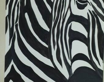 Black and White Zebra Painting